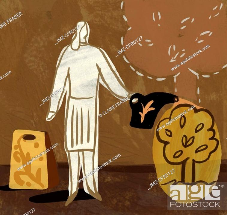 Stock Photo: An illustration of a woman watering a small tree.
