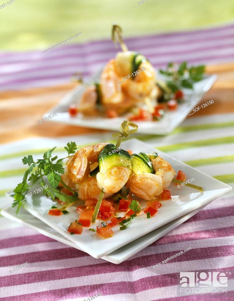 Stock Photo: Dublin Bay prawn and zucchini mini brochettes.