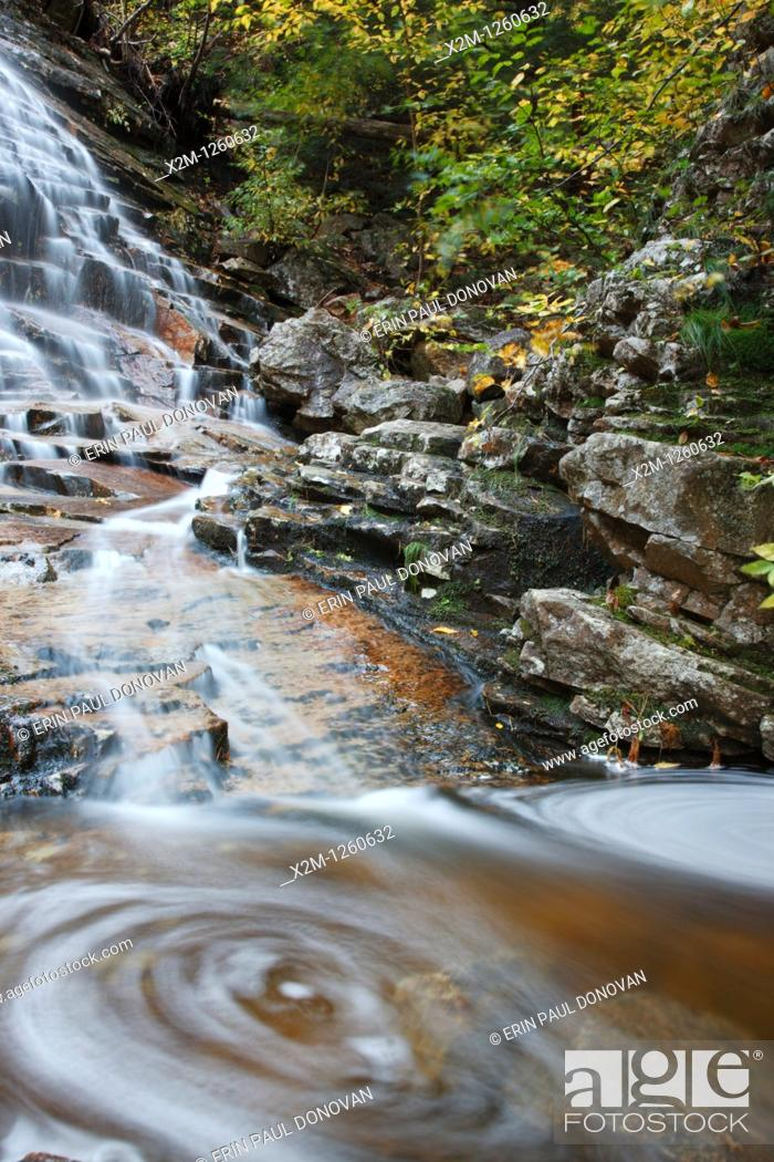 Stock Photo: Crawford Notch State Park - Silver Cascades in the White Mountains, New Hampshire USA during the autumn months.