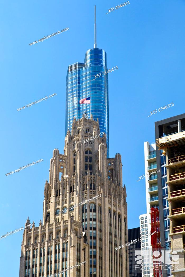 Stock Photo: Chicago Illinois, skyline. Trump tower.