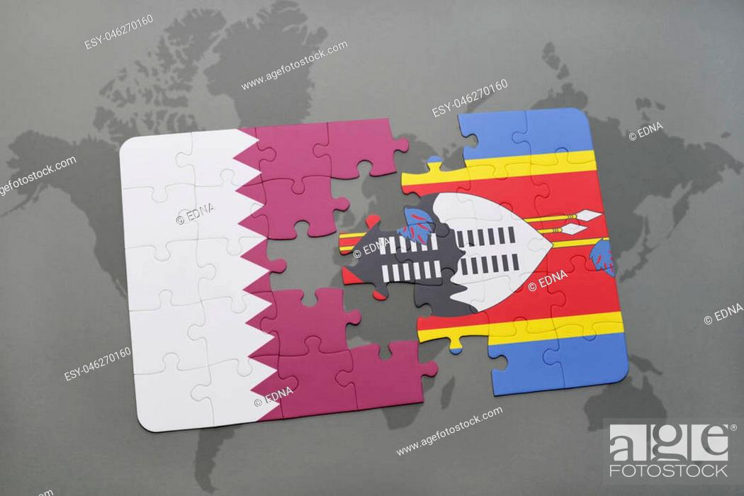 Stock Photo: puzzle with the national flag of qatar and swaziland on a world map background. 3D illustration.