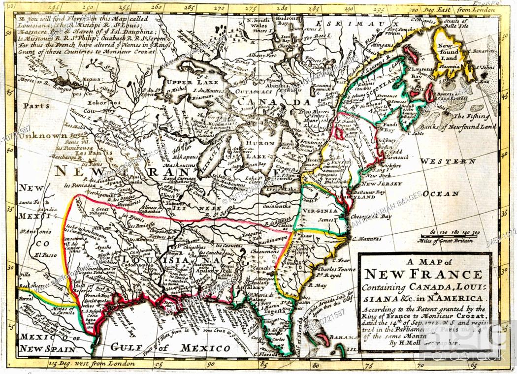 North Louisiana Map.18th Century Map Of New France North America Including Canada The