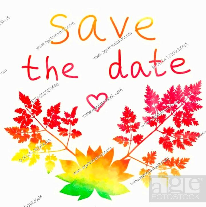 Stock Vector: Save the date card. Watercolor rainbow.