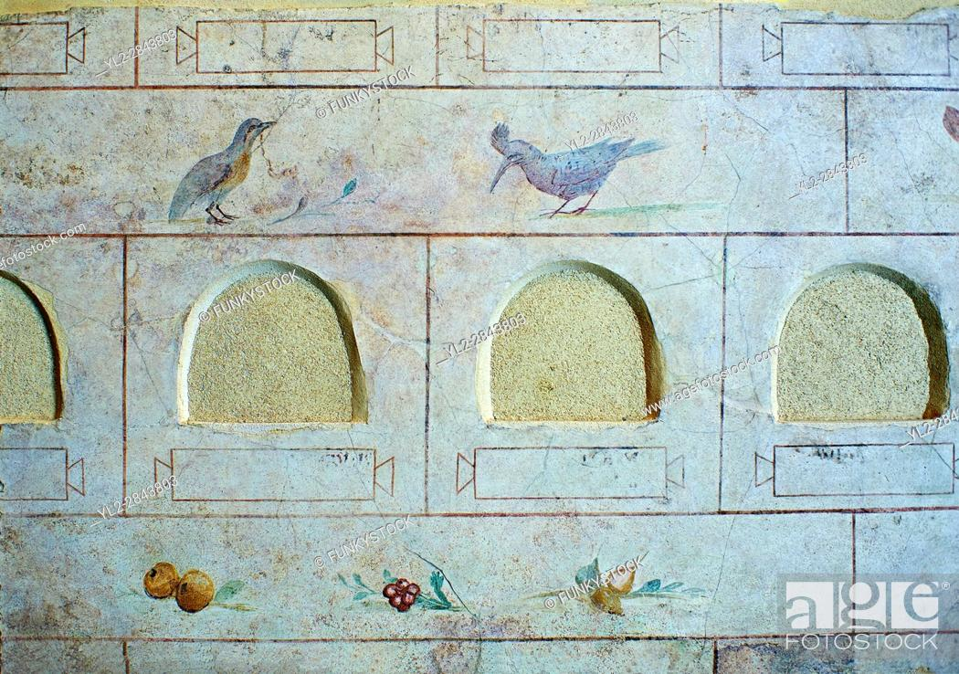 Stock Photo: Roman Frescoes of the The Large Columbarium in Villa Doria Panphilj, Rome. A columbarium is usually a type of tomb with walls lined by niches that hold urns.