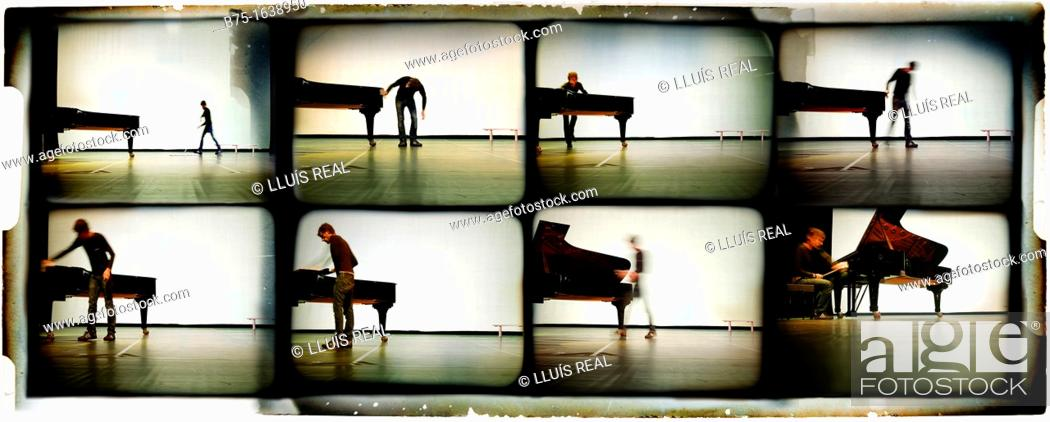 Stock Photo: Multi-image sequence of a musician pianist with a grand piano on stage.