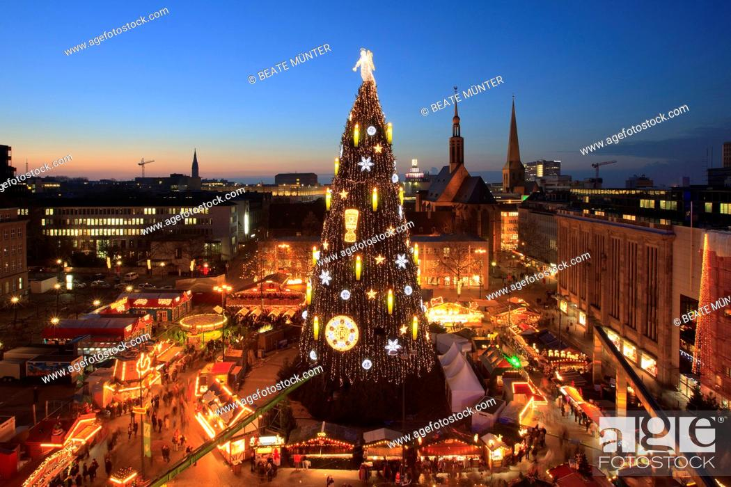 Christmas Tree On Christmas Market Dortmund North Rhine Westphalia Germany Europe Stock Photo Picture And Rights Managed Image Pic Fnl 7320735 Agefotostock