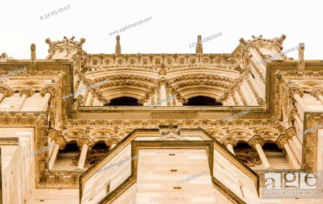 Stock Photo: Notre Dame de Paris facade detail.