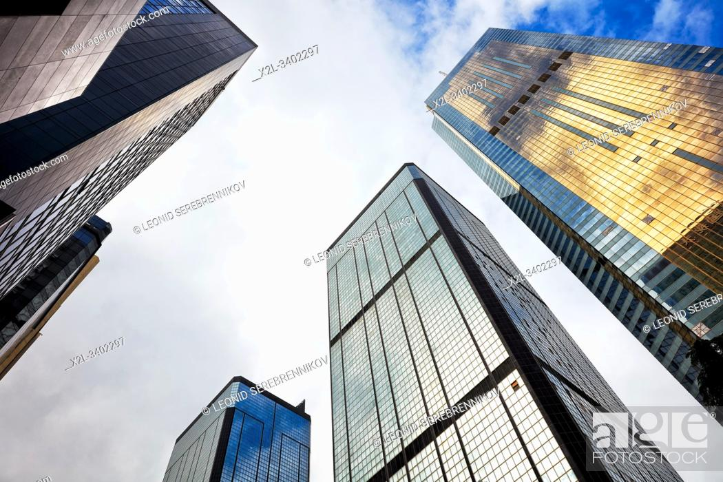 Stock Photo: Skyscrapers on Gloucester Road. Wan Chai, Hong Kong, China.