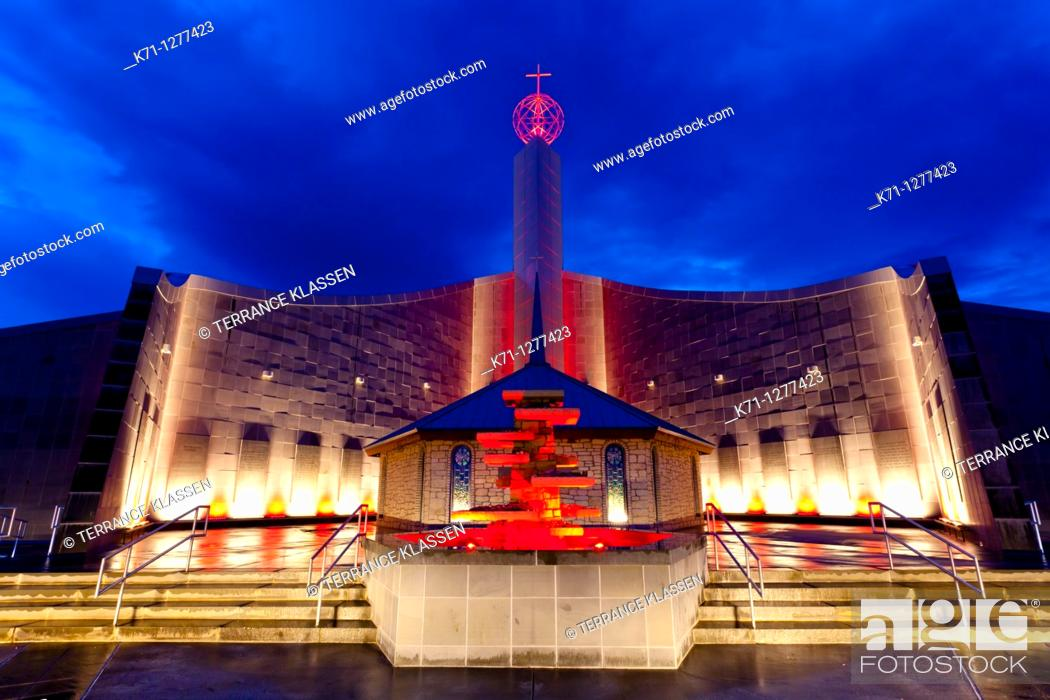Stock Photo: The shrine of the Holy Spirit illuminated at night in Branson, Missouri, USA.