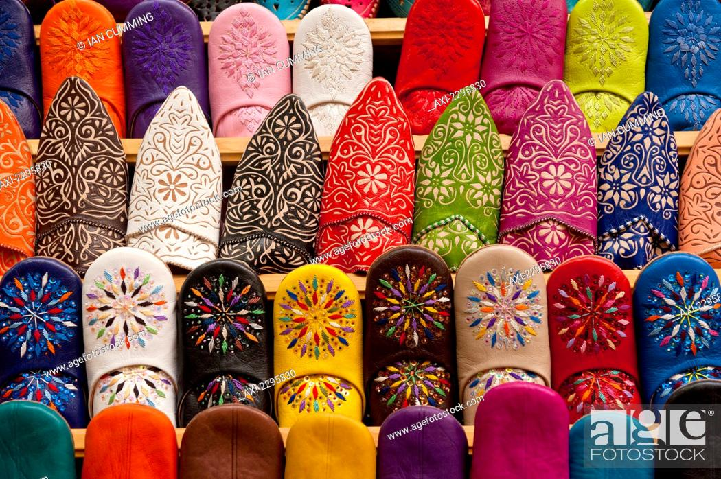 Babouche slippers for sale in shop in souks