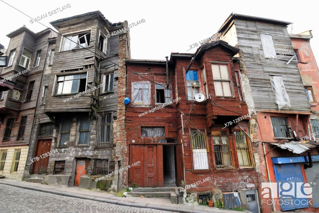 Stock Photo: Istanbul  Turkey  Dilapidated Ottoman era wooden buildings in the Suleymaniye district.