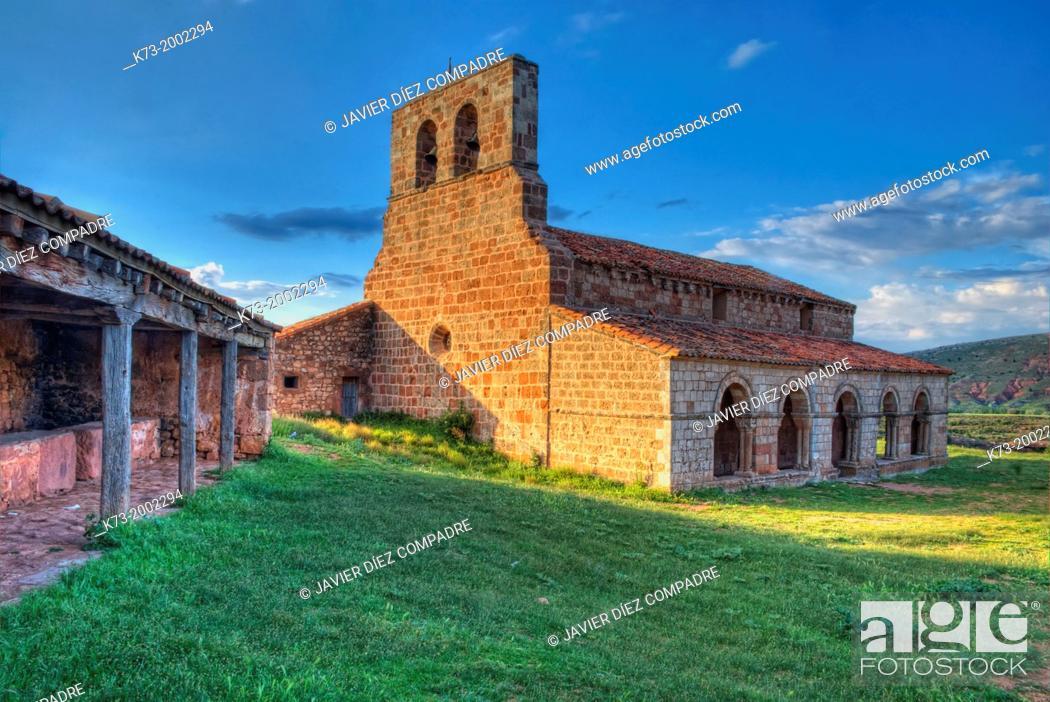 Stock Photo: Santa Maria de Tiermes Romanesque Chapel (12th Century). Montejo de Tiermes. Soria Province. Castilla y Leon. Spain.