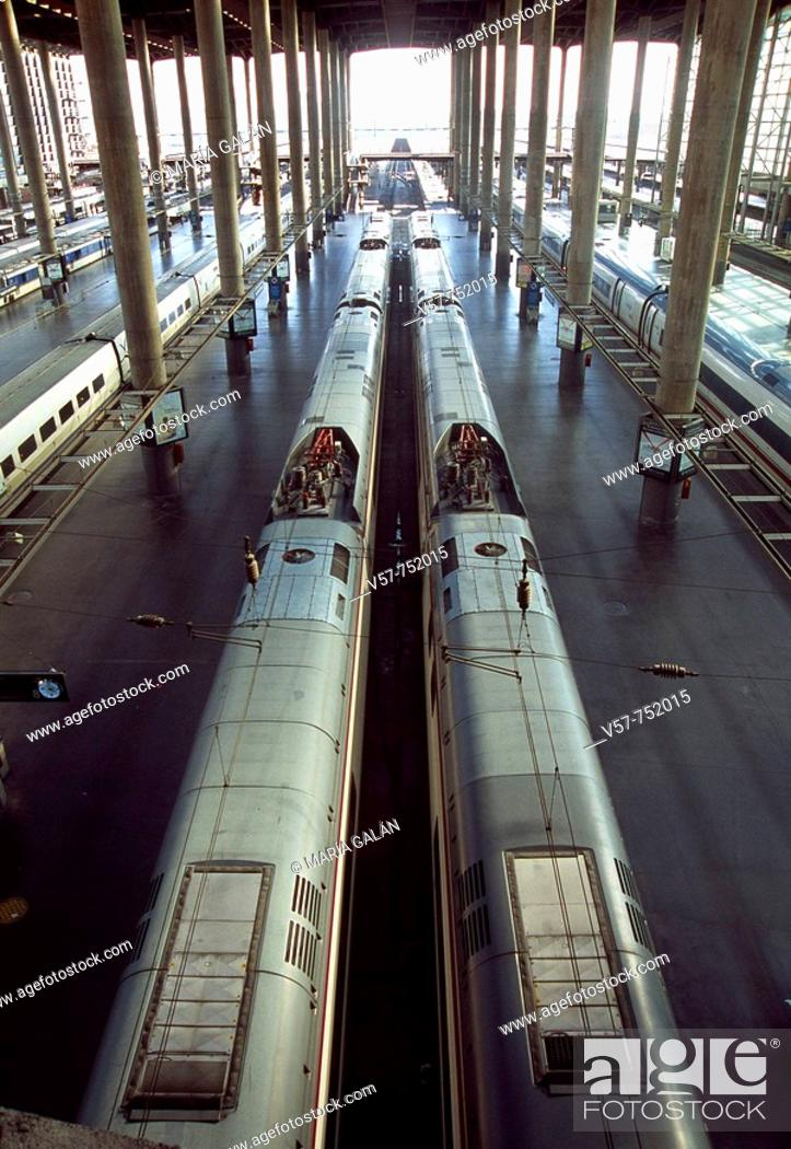 Stock Photo: Puerta de Atocha railway station, view from above, Madrid, Spain.