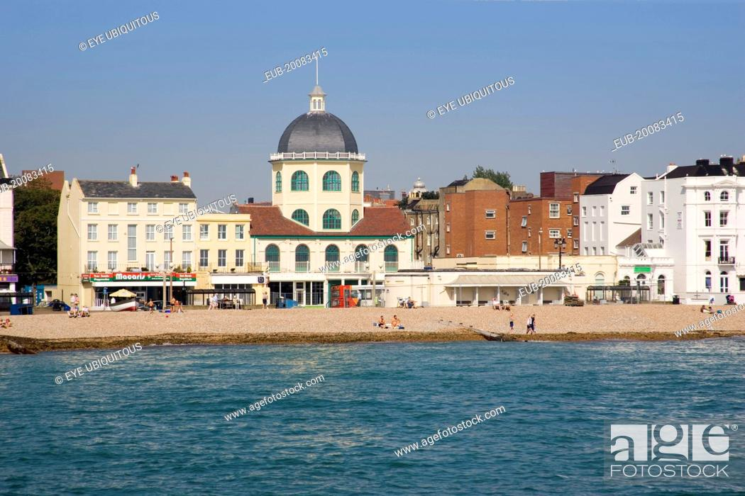 View from the pier across the sea towards The Dome Cinema and Marine