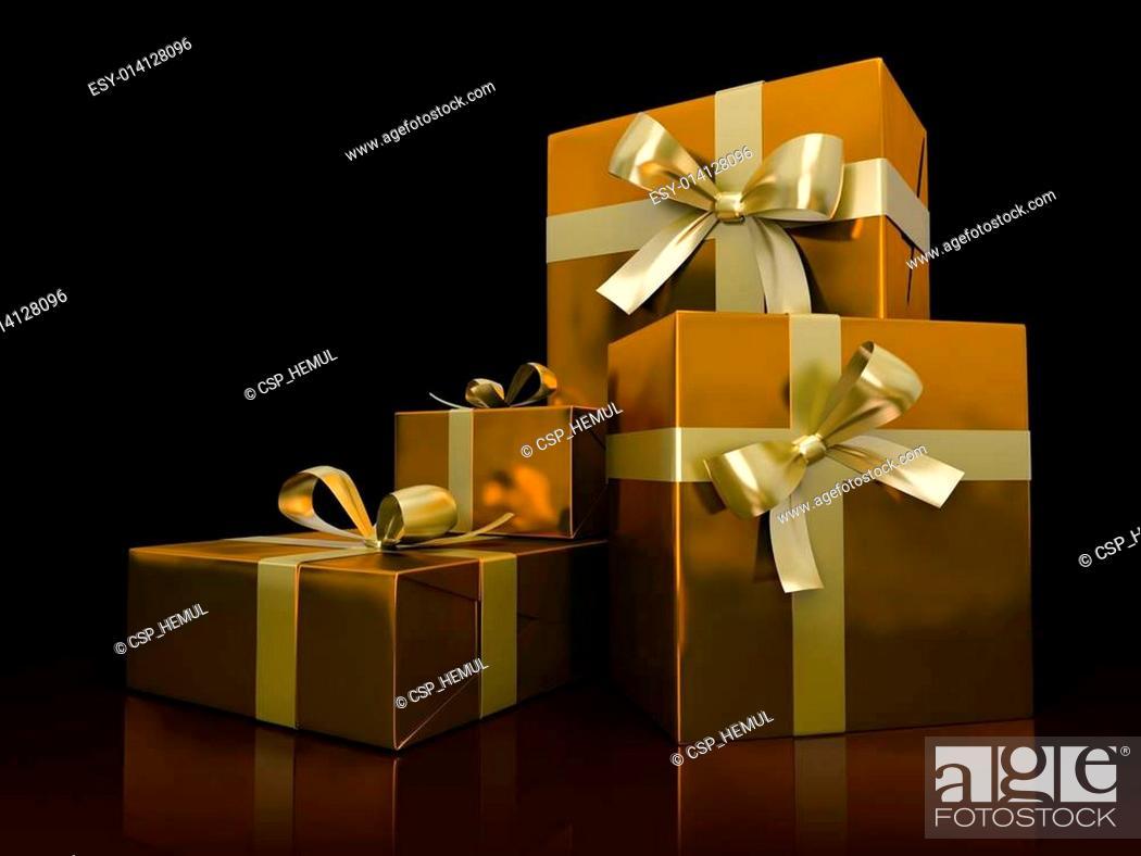 Stock Photo: Luxurious gift boxes isolated on black background.