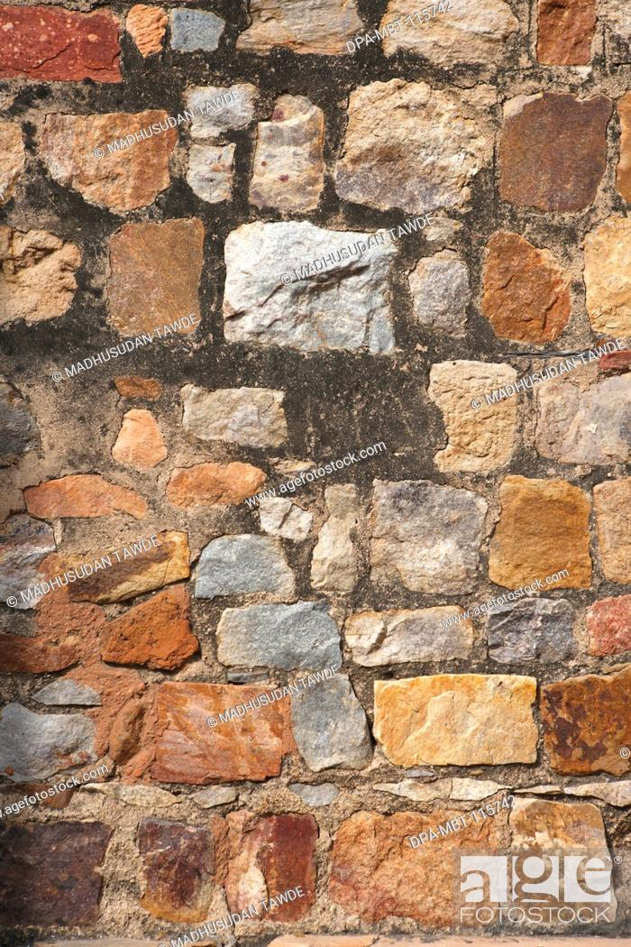 Stone wall in Qutb Minar complex ; Delhi ; India UNESCO