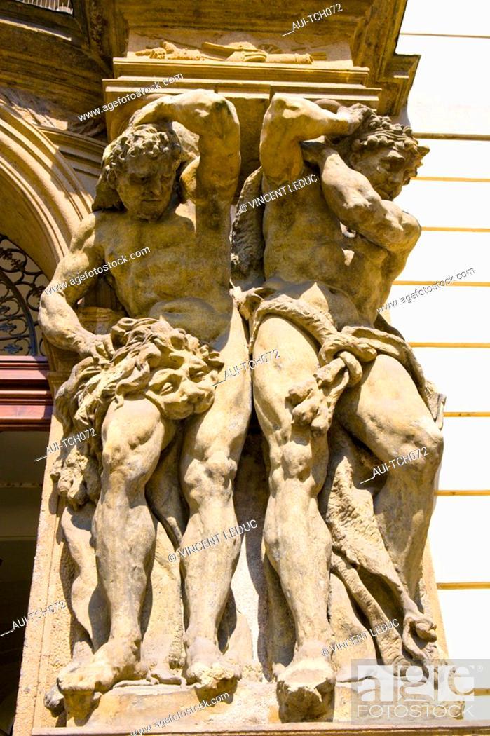 Stock Photo: Czech Republic - Prague - Staré Mesto Prague 1 District The old city - Porch at the entrance of Clam-Gallas Palace : Giants,by Matthias Braun.