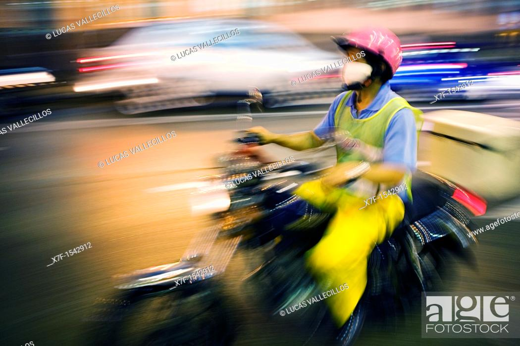 Stock Photo: Motorcycle in Praia Grande Avenue,Macau,China.