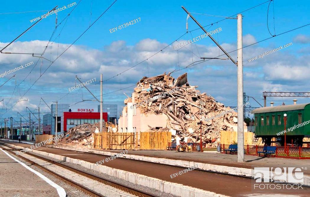 Stock Photo: Destroyed railway terminal.