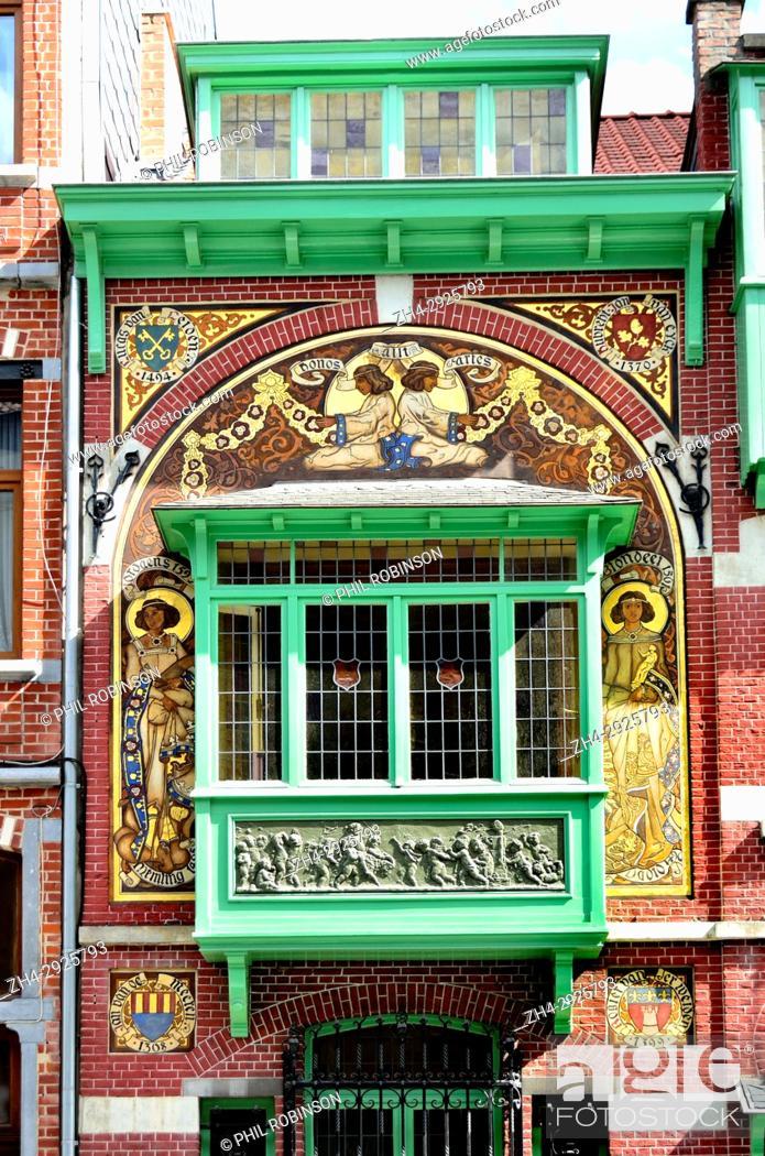 Stock Photo: Brussels, Belgium. 170 Rue Georges Moreau (1908: Hector Gerard) Fadae detail.