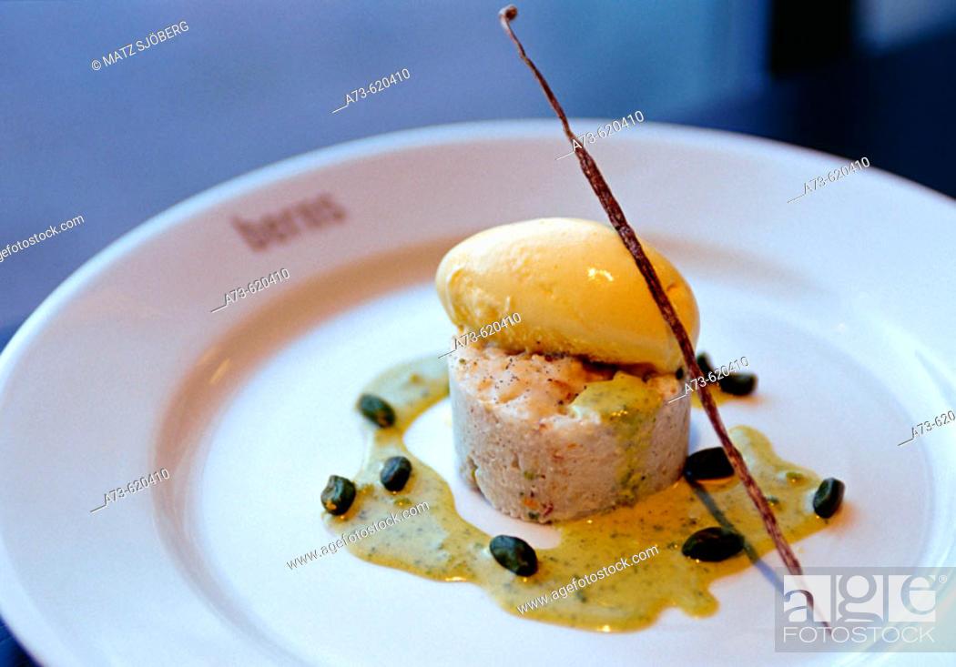 Stock Photo: Berns Restaurant, dessert (Imperial rice with pistachios, saffron ice-cream and vanilla).
