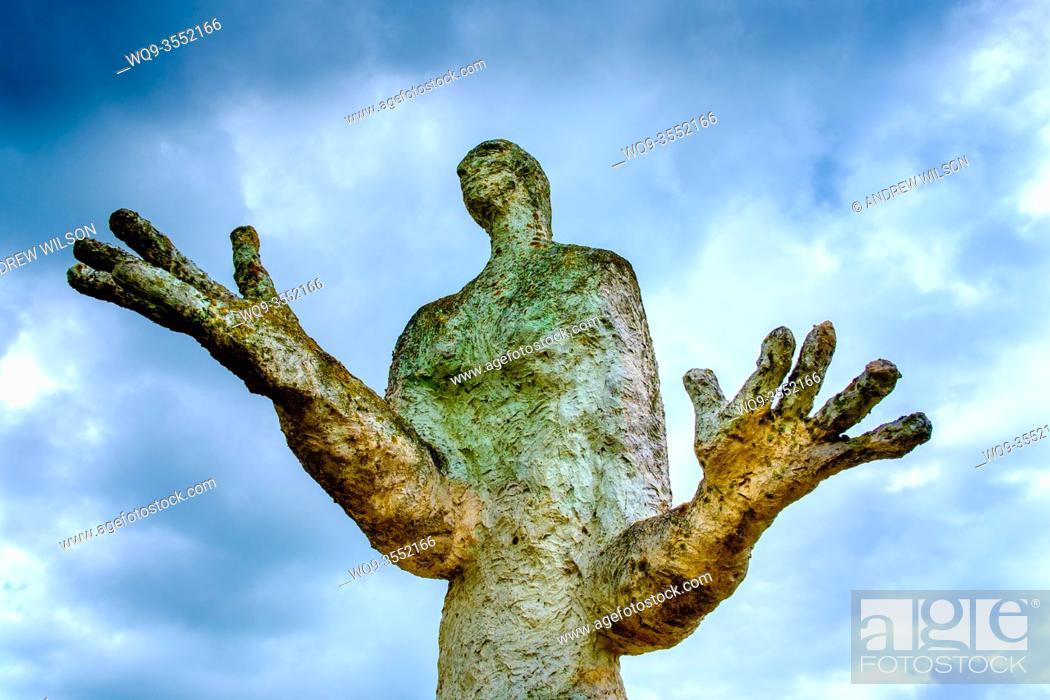 Stock Photo: Sculpture by Louis Derbre at the Espace Culturel, Ernee, France.