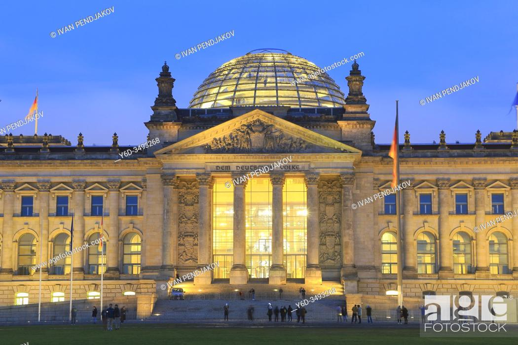 Stock Photo: Reichstag in the Evening, Berlin, Germany.