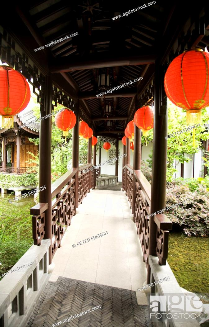 Stock Photo Oregon Portland Chinatown Chinese Gardens Pathway And Bridge With Lanterns