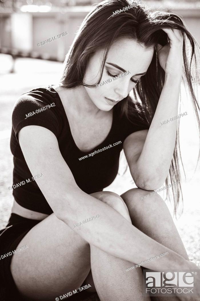 Stock Photo: Young woman, sit, serious, sad, hairs, Fashion, fashion, s/w.