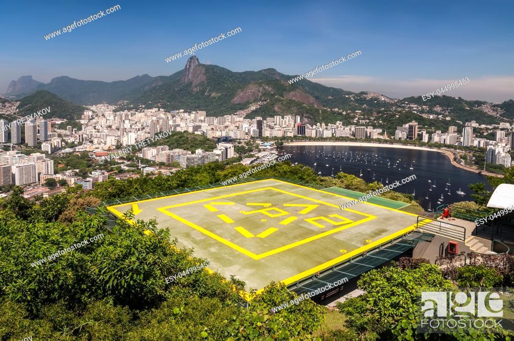 Imagen: Rio de Janeiro View from Urca Mountain with Helipad, Brazil.