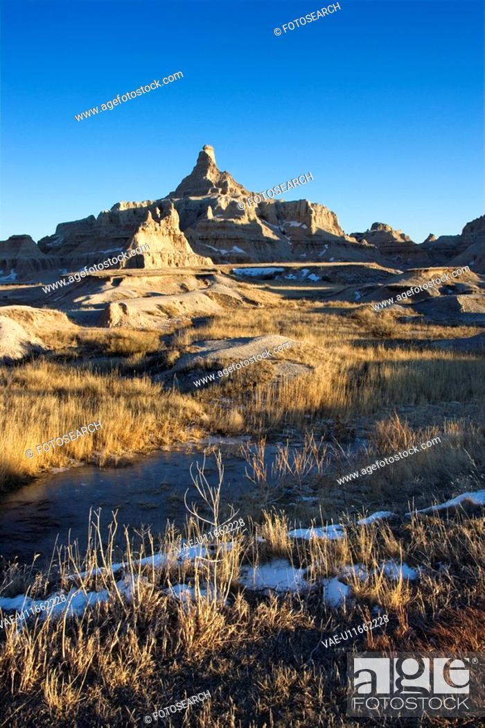 Stock Photo: Landscape in Badlands National Park, South Dakota.