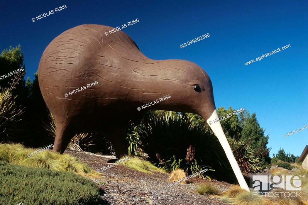 Stock Photo: New Zealand - South Island - Ruby bay neighbourghood - Giant Kiwi.