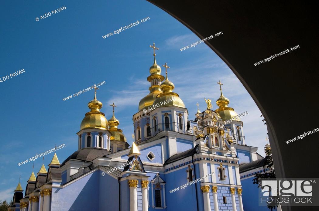 Stock Photo: Ukraine, Kiev, St  Michael's Golden-Domed Monastery.