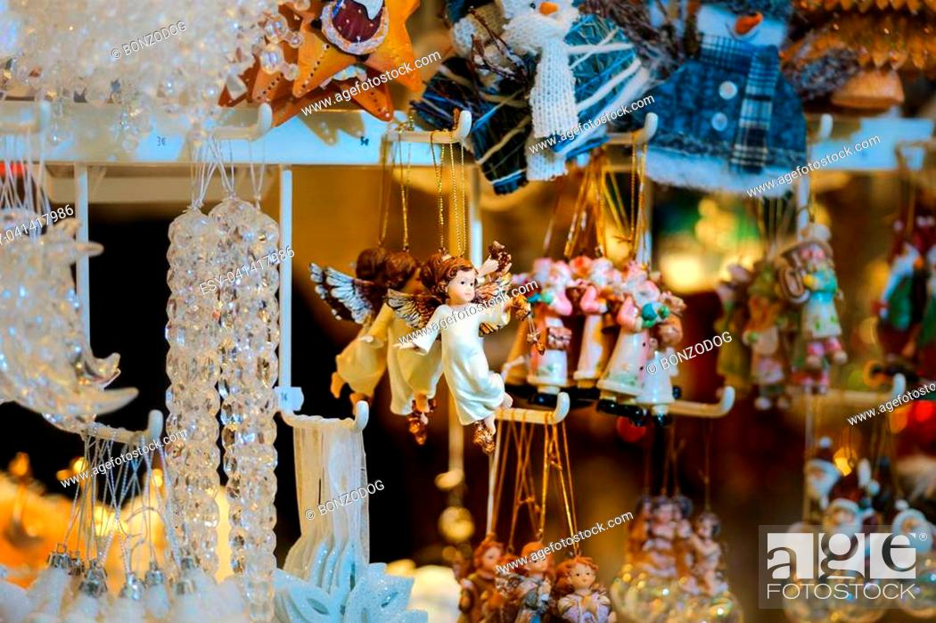 Stock Photo: Traditional Christmas market with handmade souvenirs, Strasbourg, Alsace.