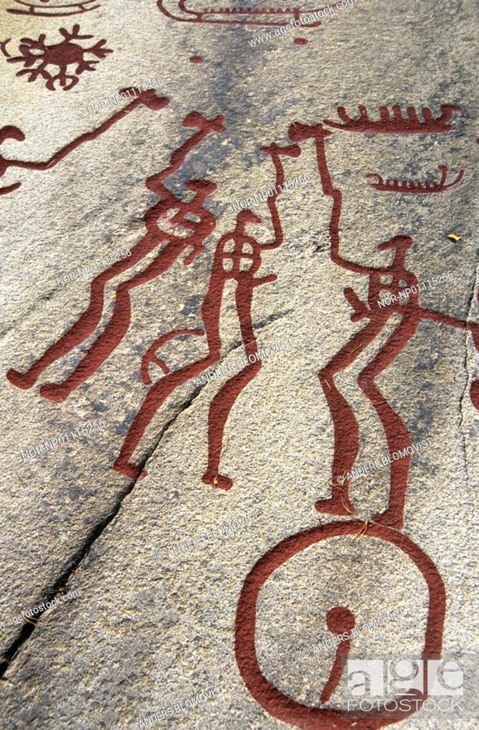 Stock Photo: Close-up of ancient stone pictographs, Tanum, Bohuslan, Sweden.