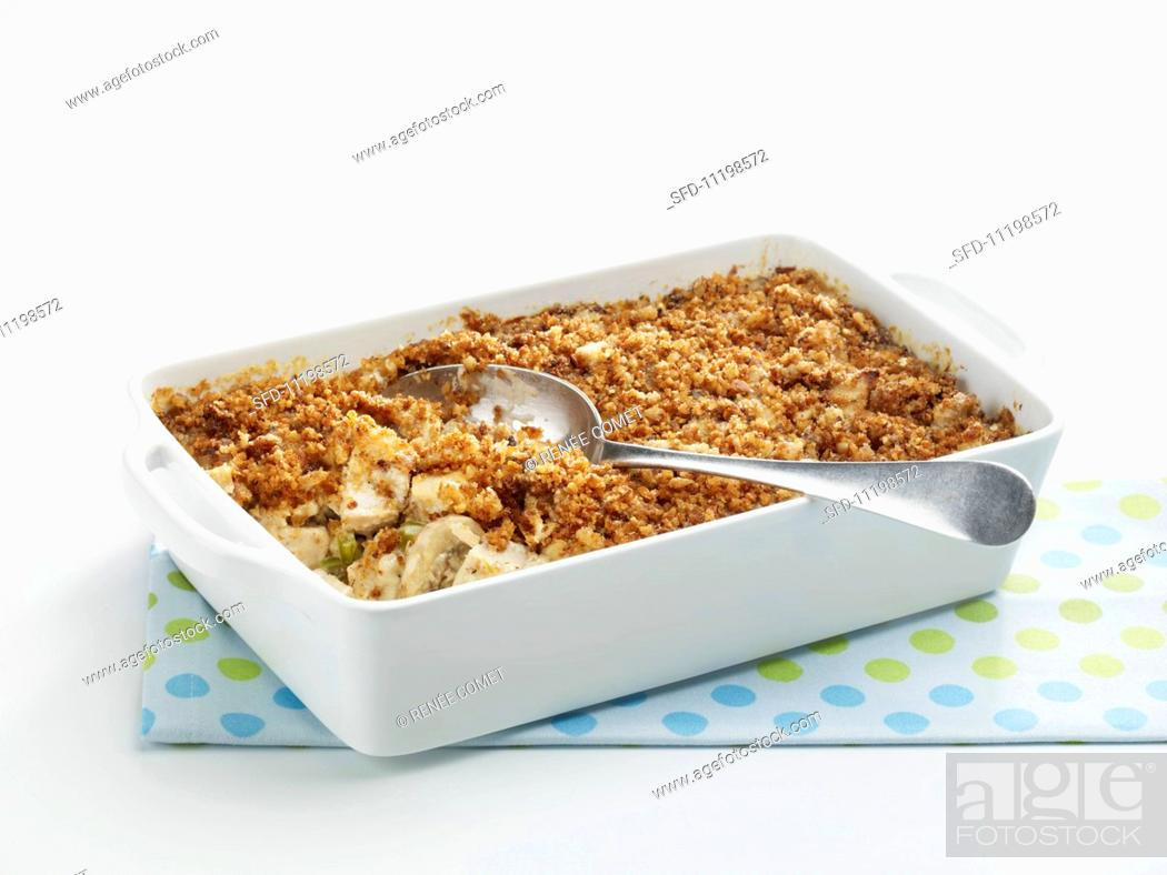 Stock Photo: Creamy Chicken Casserole in a Baking Dish.