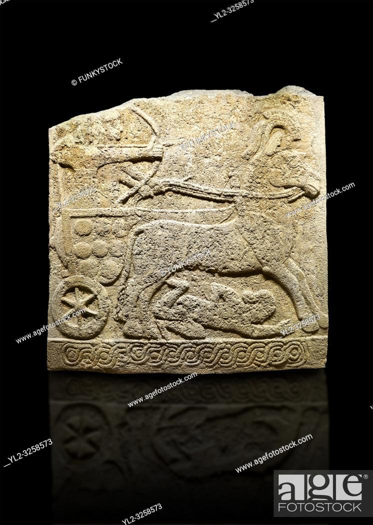 Stock Photo: Hittite relief sculpted orthostat stone panel of Long Wall Limestone, Karkamis, (Kargamis), Carchemish (Karkemish), 900 -700 B.C.
