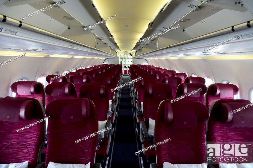 The interior of the Qatar Airways Airbus A320 plane is seen as it ...