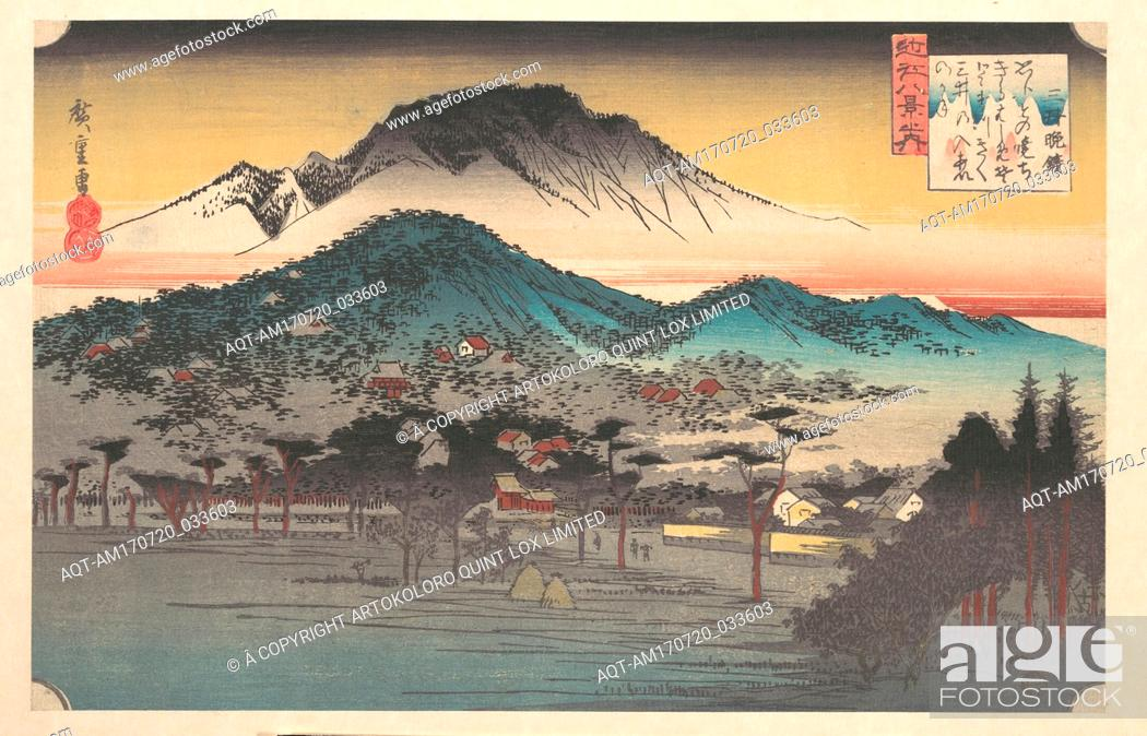 Stock Photo: 近江八景之内 三井晩鐘, Vesper Bell at Mii Temple, Lake Biwa, Edo period (1615–1868), ca. 1835, Japan, Polychrome woodblock print; ink and color on.