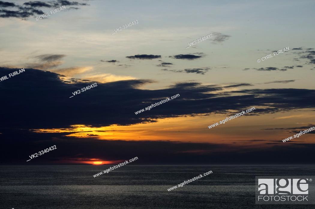 Stock Photo: Cloudy Sunrise Virginia Beach, Virginia, America.