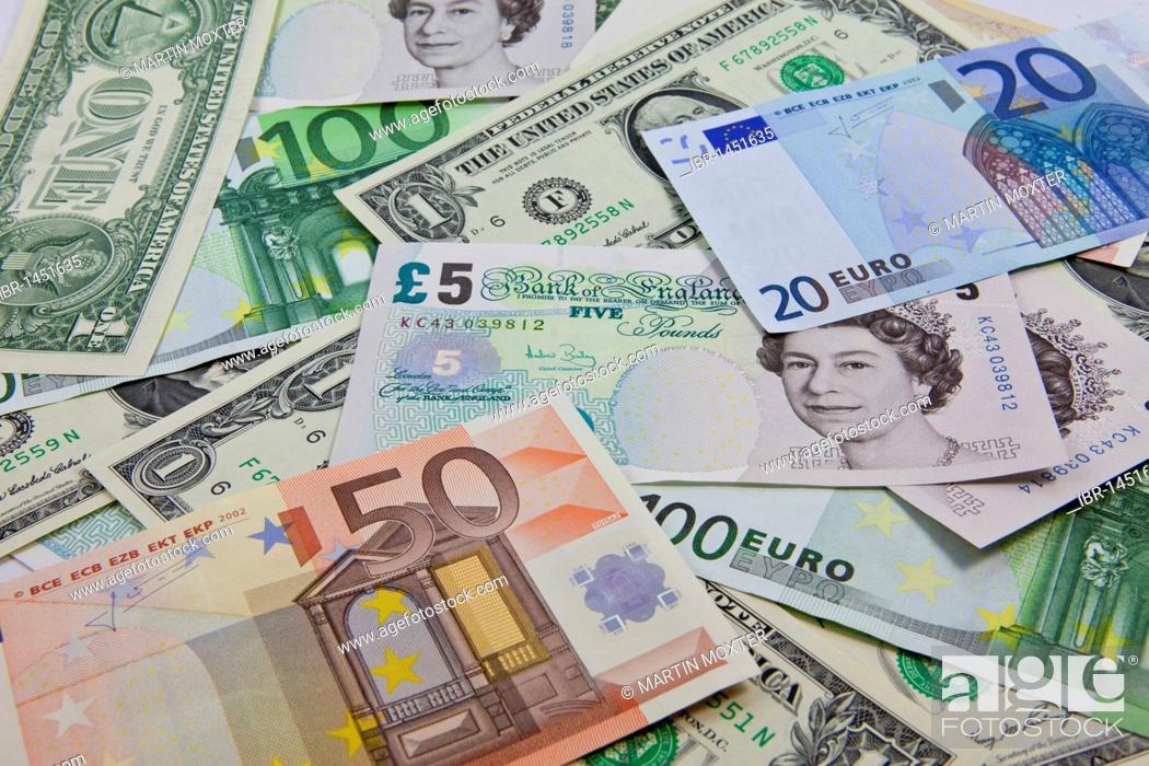 A Mixture Of Bank Notes U S Dollars Euros And British