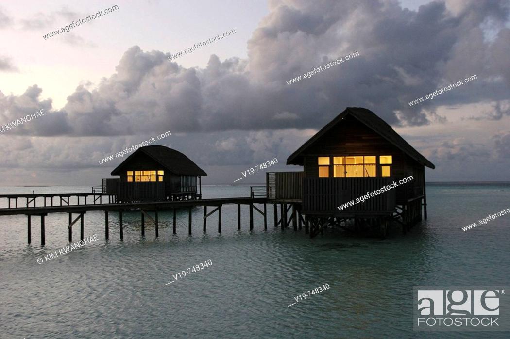 Stock Photo: Water bungalows, Maldives.