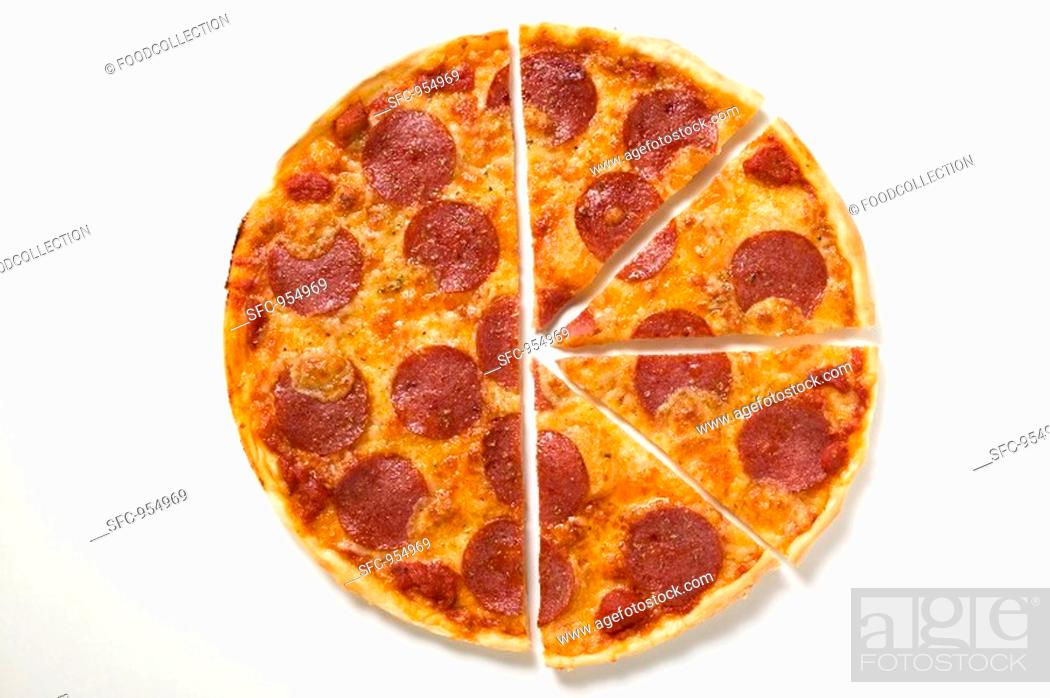 Stock Photo: Pepperoni pizza, one half cut into slices.