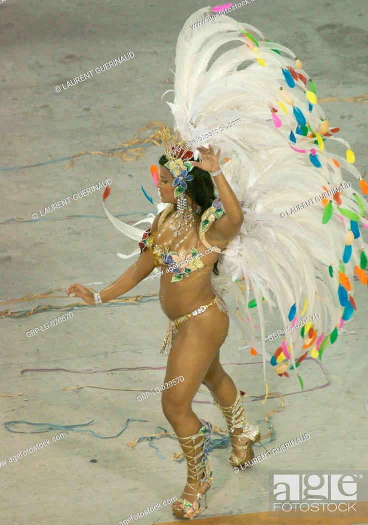 Stock Photo: Juliane Almeida, Queen of the Battery, Carnival 2009, School of Samba Viradouro, Rio de Janeiro, Brazil.