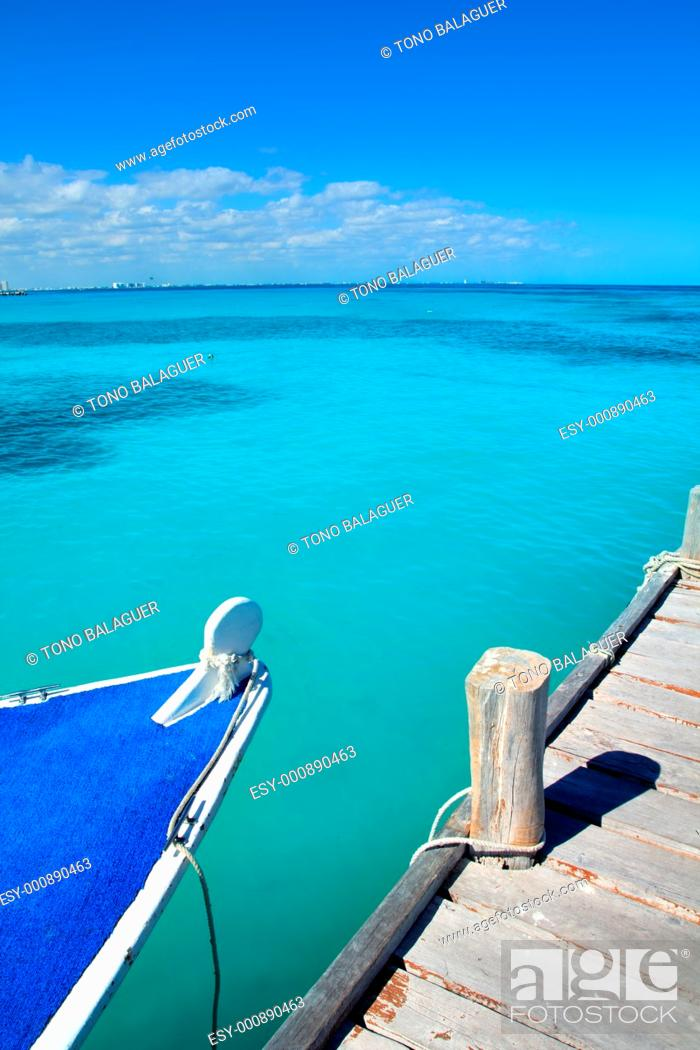 Stock Photo: boat in wood pier Cancun tropical Caribbean beach.