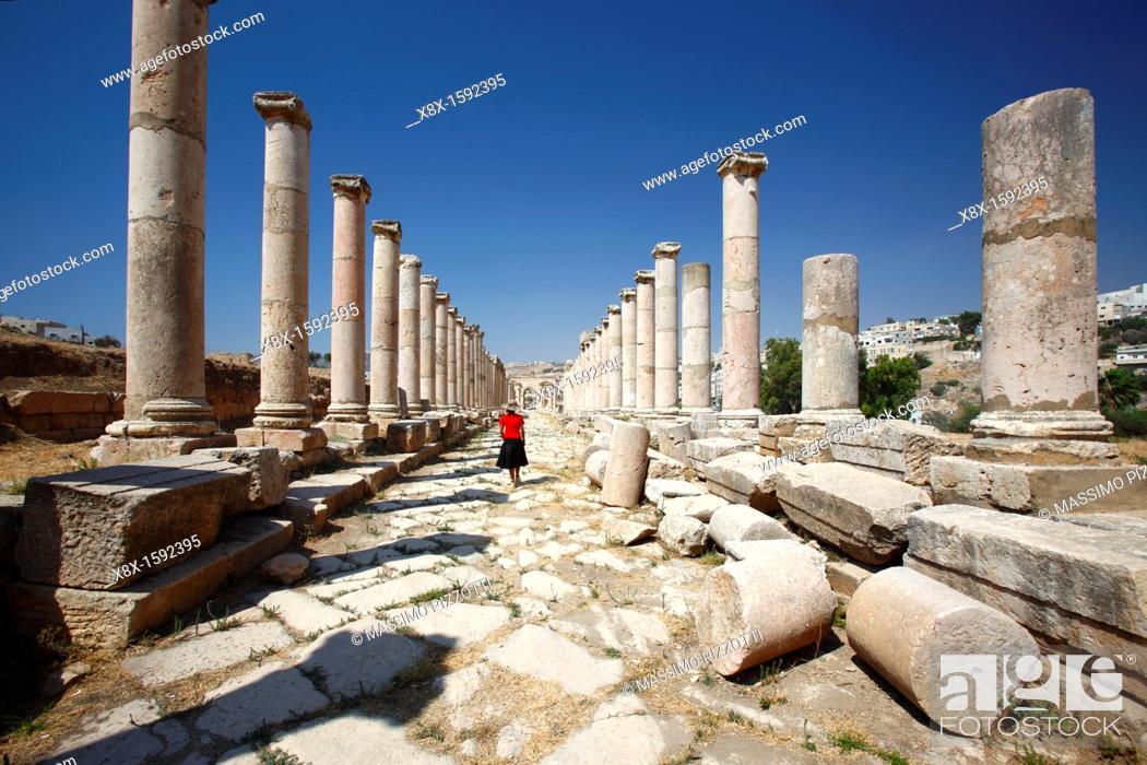 Stock Photo: The Colonnaded street at the North Tetrapylon, Jerash Jordan.