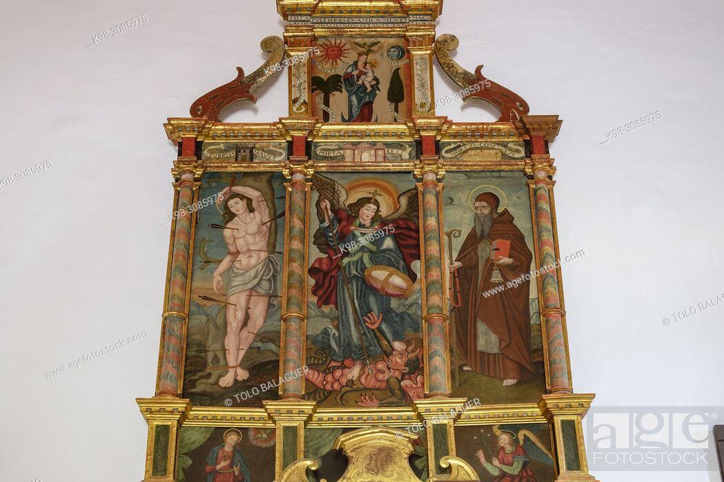 Stock Photo: retablo de San Miguel, siglo XVI-XVII, iglesia de Sant Miquel, Pla de Tel, Campanet , Mallorca, balearic islands, Spain.