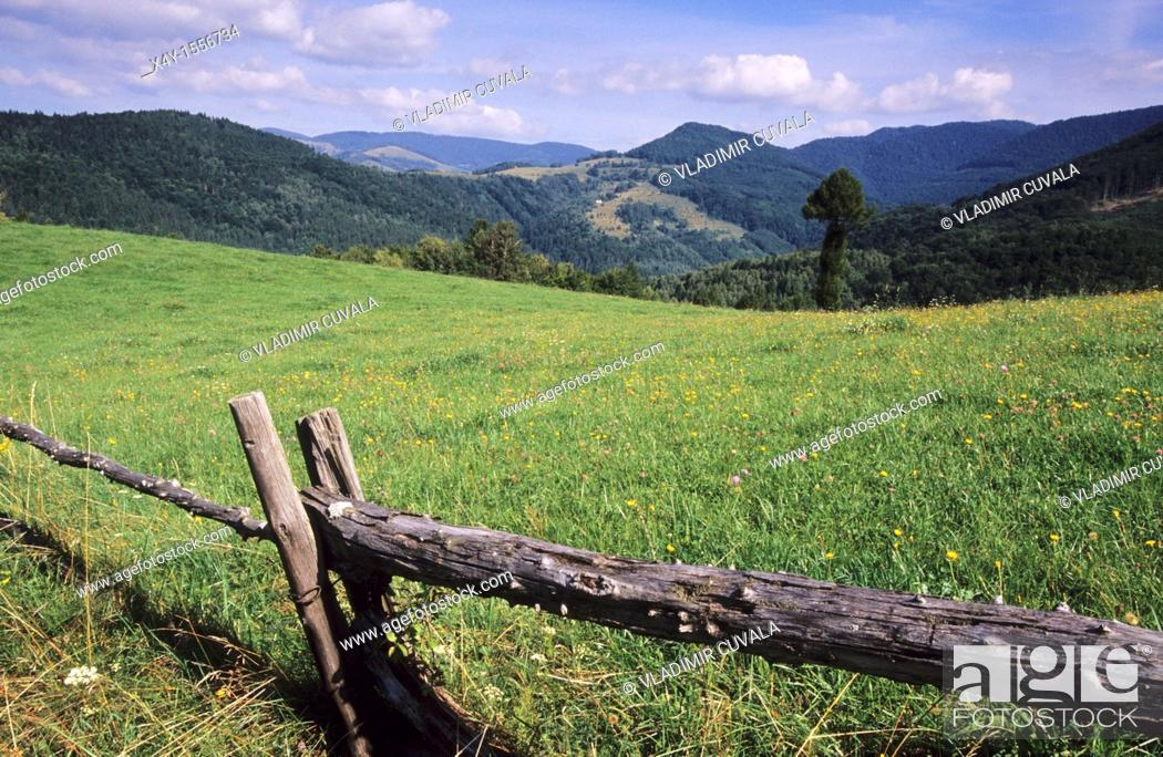 Stock Photo: View of the Muranska planina NP from Cremosna, near Tisovec.