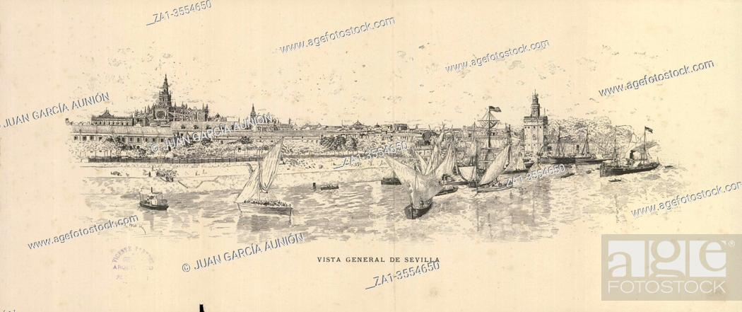 Stock Photo: General view of Seville, 1884. Drawing by Antonio Gomez Polo, published by FC Gomez Soler.