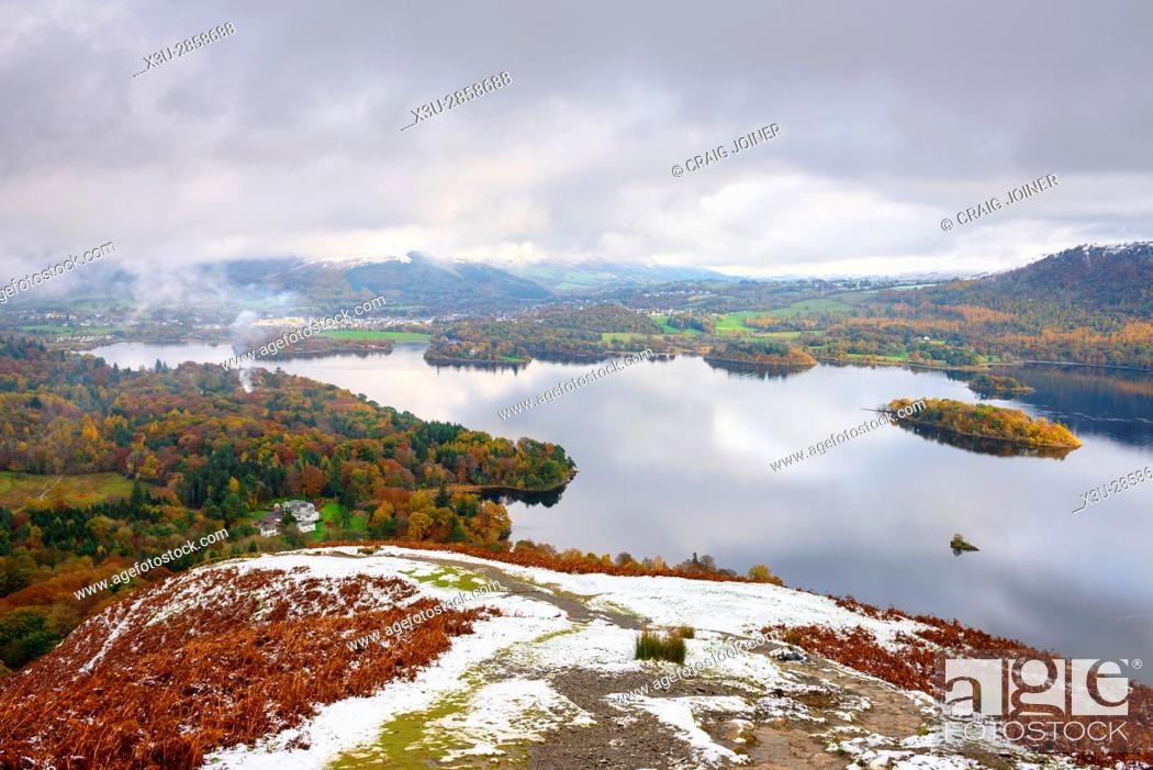 Stock Photo: Derwent Water and Keswick beyond viewed from Cat Bells in the English Lake District National Park, Cumbria, England.